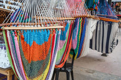 Handmade colorful hammocks. On sale from Nicaragua Royalty Free Stock Images