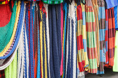 Handmade colorful hammocks on sale Stock Photo