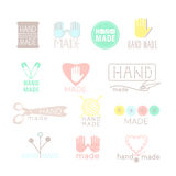 Handmade colorful icons isolated on white. Set of hand made labels, badges and logos for design. Handmade workshop logo set. Vector illustration Vector Illustration