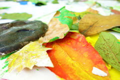 Handmade colorful leaves Royalty Free Stock Photography