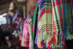 Handmade colorful scarves. Colorful handmade scarves by indigenous tribe Royalty Free Stock Photo