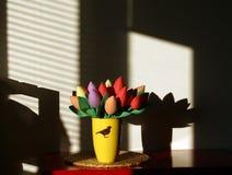Handmade colorful tulip flowers in vase. Stock Photos