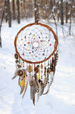Handmade colorfull dream catcher in the snowy forest Stock Images
