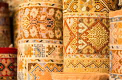Handmade colourful rugs in vibrant tones for sale in media souke Royalty Free Stock Image