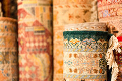 Handmade colourful rugs in vibrant tones for sale in media souke Stock Photography