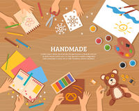Handmade Concept In Flat Style. With children drawings plasticine color paper watercolor and skillful hands vector illustration Royalty Free Stock Photography