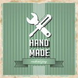 HandMade Concept on Green in Flat Design. Stock Photography