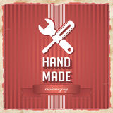 HandMade Concept on Red in Flat Design. HandMade with Icon of Crossed Screwdriver and Wrench and Slogan on Red Striped Background. Vintage Concept in Flat Stock Photo