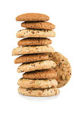 Handmade cookie. Oat Biscuits with sesame seeds stock photo