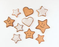 Handmade cookies. Handmade decorated cookies on the white background Stock Photo