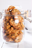 Handmade cookies handmade in widemouthed glass jar Royalty Free Stock Images