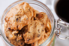 Handmade cookies in widemouthed glass jar  close up Stock Photography