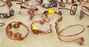 Handmade copper bracelets Stock Image