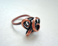 Handmade copper ring Royalty Free Stock Images