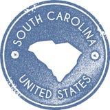 Печать карты Южной Каролины винтажная иллюстрация штока