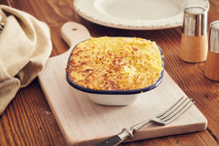 Handmade cottage pie. Traditional british handmade cottage pie in a country style Stock Images
