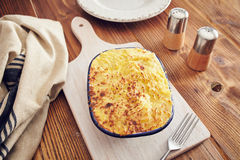 Handmade cottage pie. Traditional british handmade cottage pie in a country style Stock Photography