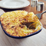 Handmade cottage pie. Traditional british handmade cottage pie in a country style stock photo