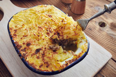 Handmade cottage pie. Traditional british handmade cottage pie in a country style Stock Image