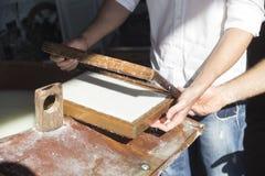 Handmade cotton paper Stock Photos