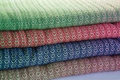 Handmade cotton warp. With harts Stock Photo