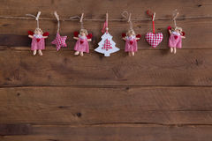 Handmade country style christmas decoration with angels, star an royalty free stock photography