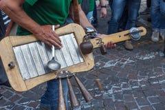 Handmade courious guitar,Treviso. Handmade courious guitar during alpine troops parade,Treviso, Italy royalty free stock image