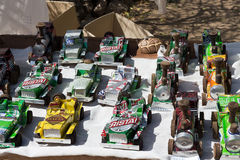 Handmade craft from aluminium cans at the street market in Cuba Stock Images