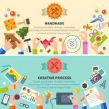 Handmade and creative process. Vector flat illustrations Stock Photography