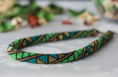 Handmade crochet beaded necklace with geometrical pattern Royalty Free Stock Image