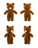 Handmade crochet brown bear doll on white background, four side stock photography