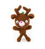 Handmade crochet brown deer doll on white background Stock Image