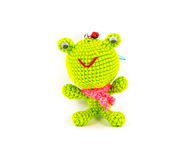 Handmade crochet green frog doll royalty free stock images