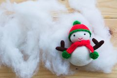Knitting snowman doll Stock Photo