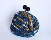 Handmade crochet purse with cotton thread in  blue melange color Stock Photography