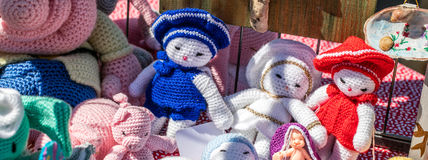 Handmade crochet soft fabric toys or rag dolls for decoration Royalty Free Stock Photography