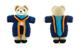 Handmade crochet teddy bear doll with graduation stock photo