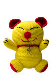 Handmade crochet yellow cat doll on white background Royalty Free Stock Photography