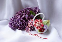 Handmade crocheted basket with red and white string, known as Martisor. Handmade crocheted basket with red and white string, known as Martisor, it is a Romanian stock photography