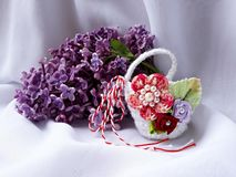 Handmade crocheted basket with red and white string, known as Martisor. Handmade crocheted basket with red and white string, known as Martisor, it is a Romanian royalty free stock images