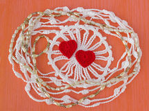 Handmade crocheted cotton organic lace wreath. White knitted frame, pattern, handicraft background, needlework creative craft. Ten Royalty Free Stock Images