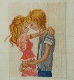 Handmade cross-stitch Stock Images