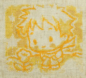 Handmade cross-stitch. Little prince. Royalty Free Stock Photography