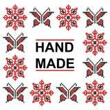 Handmade cross stitch pattern with elements of folk embroidery. Butterflies and flowers Royalty Free Stock Photos