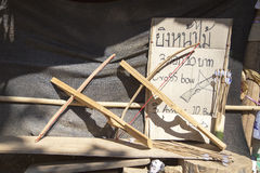 Handmade Crossbow by Long Neck Kayan Royalty Free Stock Photography