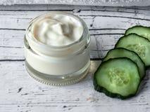 Handmade cucumber cream, homemade cream stock photos