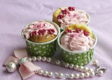 Handmade cup cake. Handmade colorful cup cakes shot in a closeup scene Stock Images