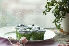 Handmade cup cake. Handmade colorful cup cakes shot in a closeup scene Royalty Free Stock Image