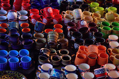 Handmade cups stock images