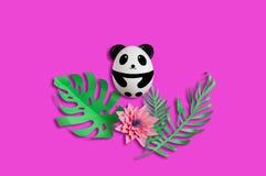 Handmade cute panda made of egg. Easter concept stock image